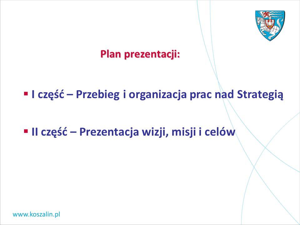 I część – Przebieg i organizacja prac nad Strategią II część – Prezentacja wizji, misji i celów Plan prezentacji: