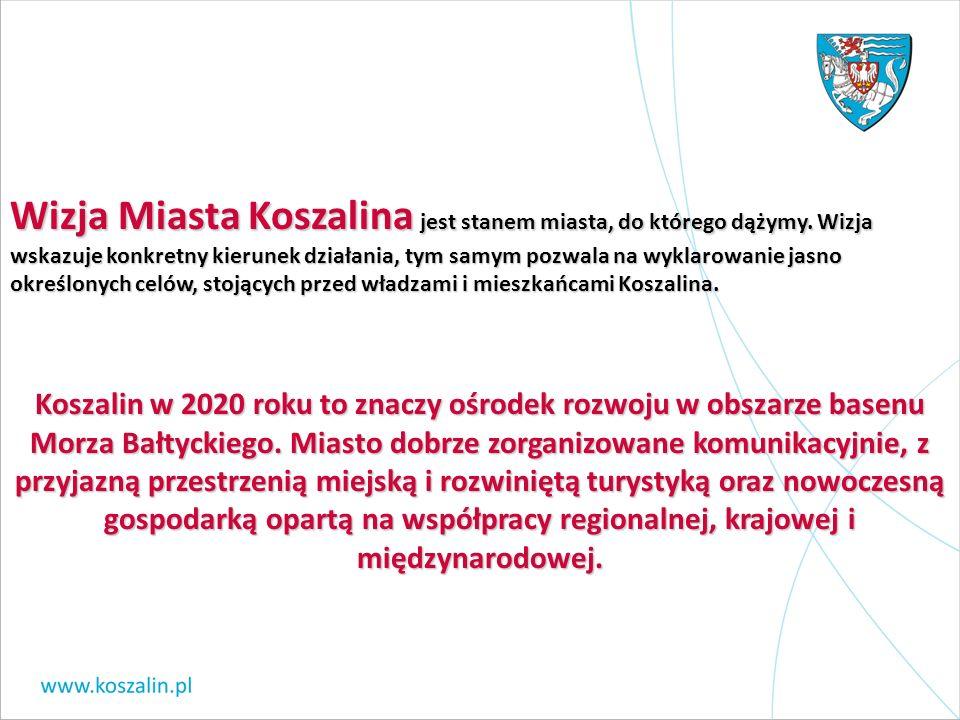 Misja Koszalina, która służy określeniu systemu wartości, jakie przyświecają władzom i społeczności w drodze do osiągnięcia przyjętego w wizji przyszłego obrazu Koszalina, przedstawia się następująco: Samorząd mieszkańców Koszalina wykorzystując dziedzictwo kulturowe, walory środowiska i położenie Miasta oraz jego potencjał społeczny, gospodarczy, turystyczny, kulturalny i akademicki dąży do wzrostu poziomu życia we wszystkich sferach