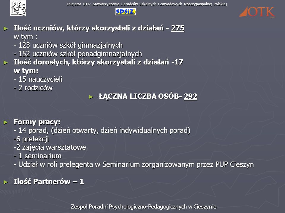Inicjator OTK: Stowarzyszenie Doradców Szkolnych i Zawodowych Rzeczypospolitej Polskiej Zespół Poradni Psychologiczno-Pedagogicznych w Cieszynie Ilość uczniów, którzy skorzystali z działań - 275 Ilość uczniów, którzy skorzystali z działań - 275 w tym : - 123 uczniów szkół gimnazjalnych - 152 uczniów szkół ponadgimnazjalnych Ilość dorosłych, którzy skorzystali z działań -17 Ilość dorosłych, którzy skorzystali z działań -17 w tym: - 15 nauczycieli - 2 rodziców ŁĄCZNA LICZBA OSÓB- 292 ŁĄCZNA LICZBA OSÓB- 292 Formy pracy: Formy pracy: - 14 porad, (dzień otwarty, dzień indywidualnych porad) -6 prelekcji -2 zajęcia warsztatowe - 1 seminarium - Udział w roli prelegenta w Seminarium zorganizowanym przez PUP Cieszyn Ilość Partnerów – 1 Ilość Partnerów – 1