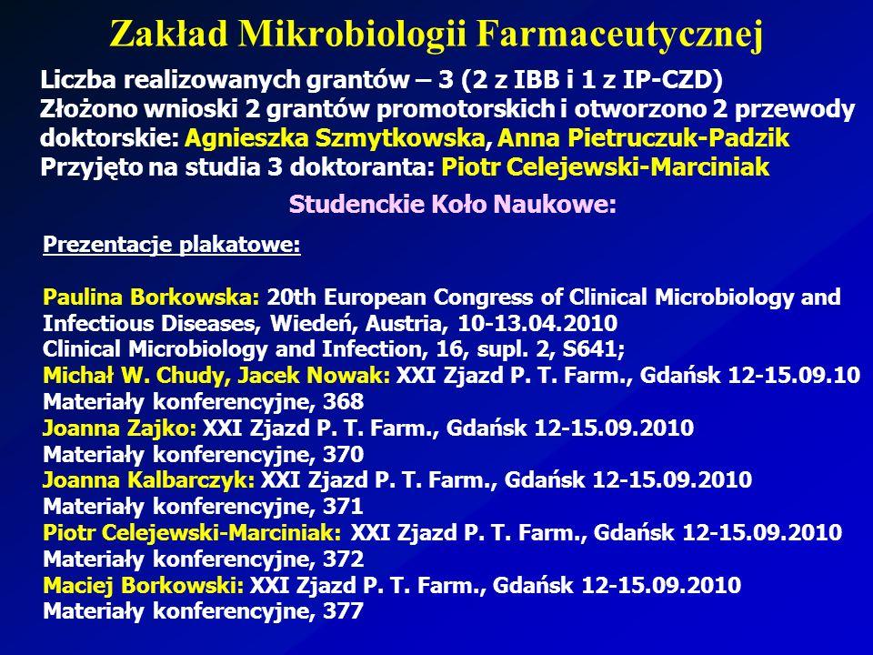 Zakład Mikrobiologii Farmaceutycznej Studenckie Koło Naukowe: Prezentacje plakatowe: Paulina Borkowska: 20th European Congress of Clinical Microbiolog