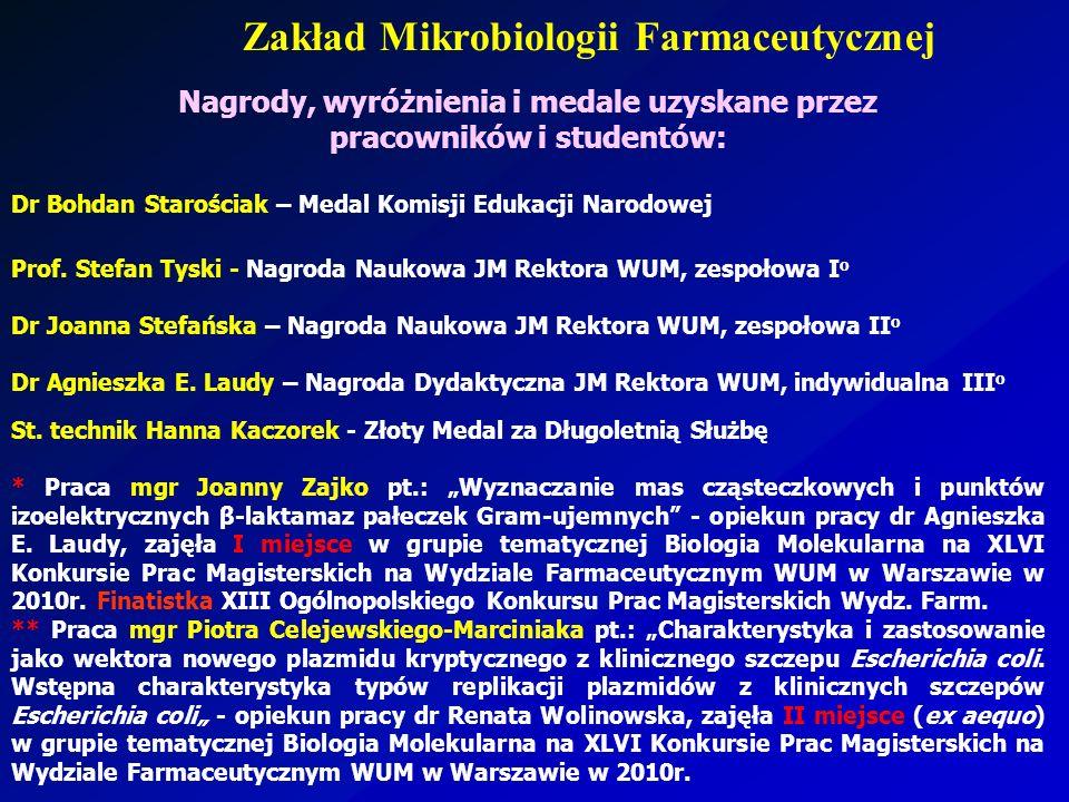 Zakład Mikrobiologii Farmaceutycznej Nagrody, wyróżnienia i medale uzyskane przez pracowników i studentów: Dr Bohdan Starościak – Medal Komisji Edukac