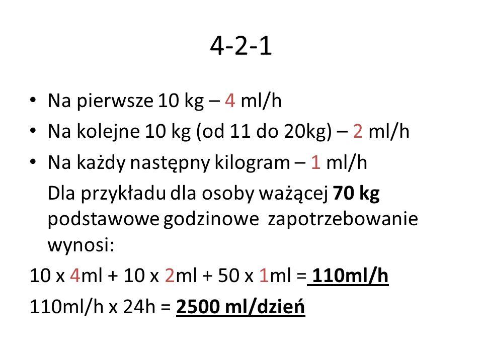 4-2-1 Na pierwsze 10 kg – 4 ml/h Na kolejne 10 kg (od 11 do 20kg) – 2 ml/h Na każdy następny kilogram – 1 ml/h Dla przykładu dla osoby ważącej 70 kg p