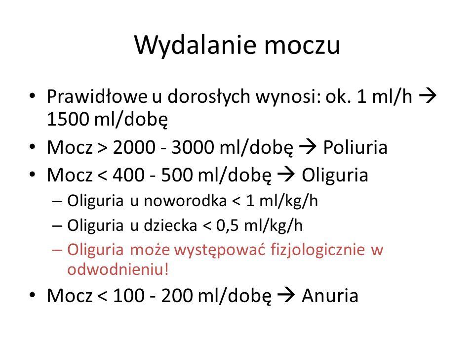 Wydalanie moczu Prawidłowe u dorosłych wynosi: ok. 1 ml/h 1500 ml/dobę Mocz > 2000 - 3000 ml/dobę Poliuria Mocz < 400 - 500 ml/dobę Oliguria – Oliguri