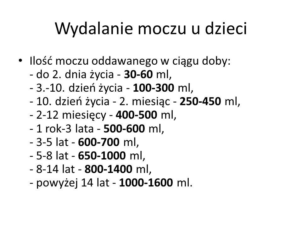 Wydalanie moczu u dzieci Ilość moczu oddawanego w ciągu doby: - do 2. dnia życia - 30-60 ml, - 3.-10. dzień życia - 100-300 ml, - 10. dzień życia - 2.