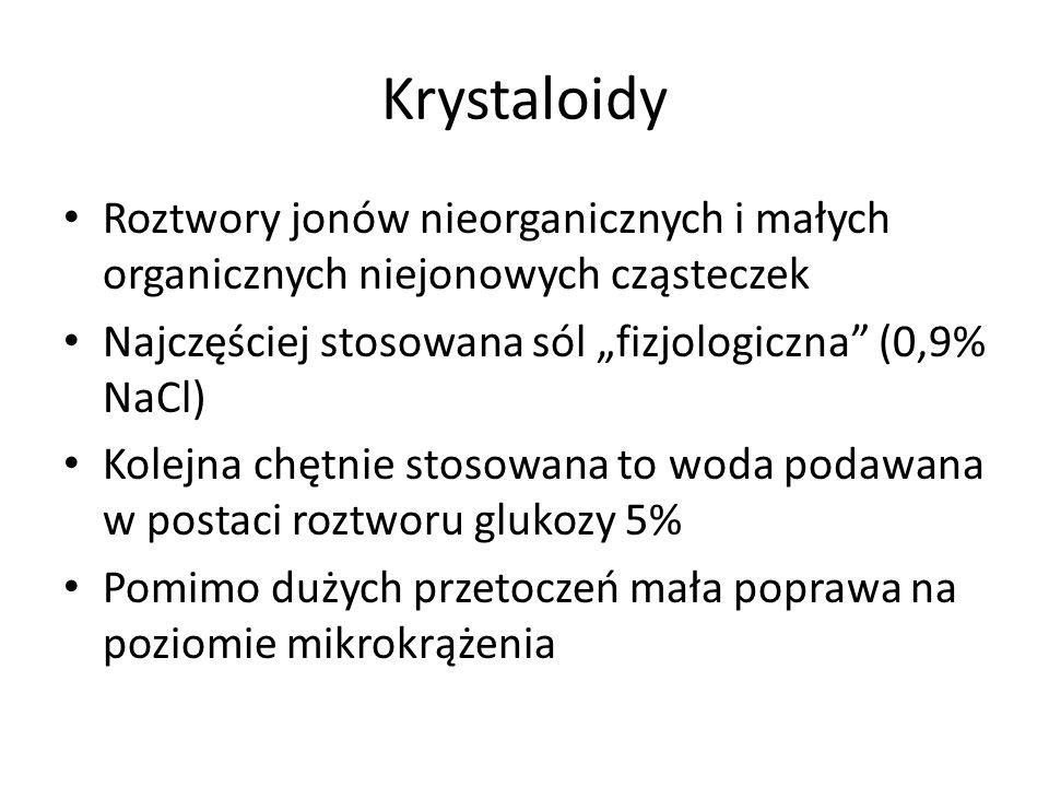 Krystaloidy Roztwory jonów nieorganicznych i małych organicznych niejonowych cząsteczek Najczęściej stosowana sól fizjologiczna (0,9% NaCl) Kolejna ch