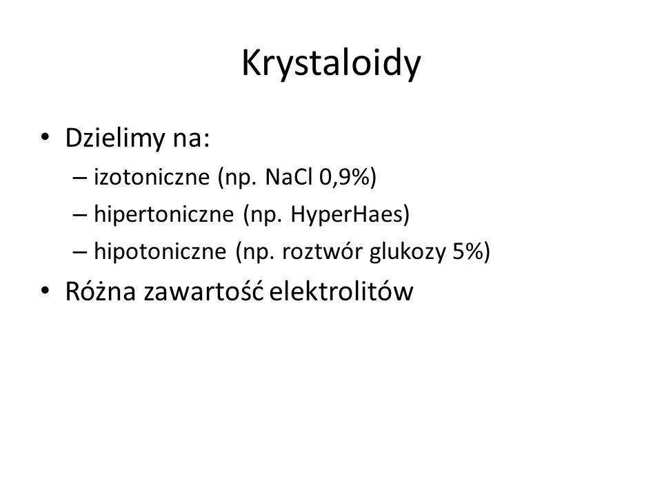 Krystaloidy Dzielimy na: – izotoniczne (np. NaCl 0,9%) – hipertoniczne (np. HyperHaes) – hipotoniczne (np. roztwór glukozy 5%) Różna zawartość elektro
