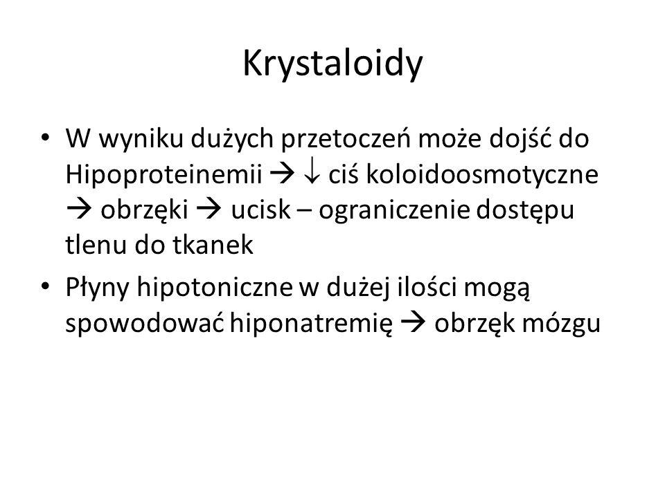Krystaloidy W wyniku dużych przetoczeń może dojść do Hipoproteinemii ciś koloidoosmotyczne obrzęki ucisk – ograniczenie dostępu tlenu do tkanek Płyny
