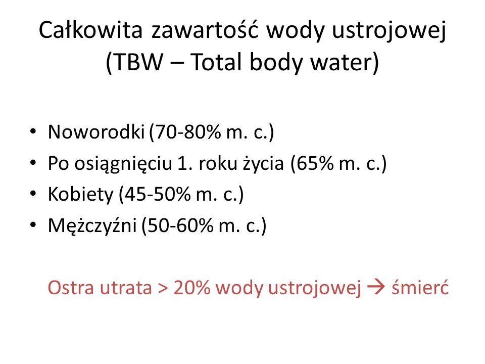 Całkowita zawartość wody ustrojowej (TBW – Total body water) Noworodki (70-80% m. c.) Po osiągnięciu 1. roku życia (65% m. c.) Kobiety (45-50% m. c.)
