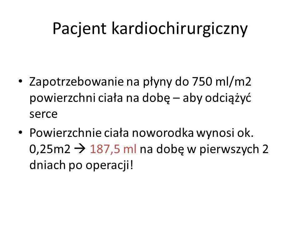 Pacjent kardiochirurgiczny Zapotrzebowanie na płyny do 750 ml/m2 powierzchni ciała na dobę – aby odciążyć serce Powierzchnie ciała noworodka wynosi ok