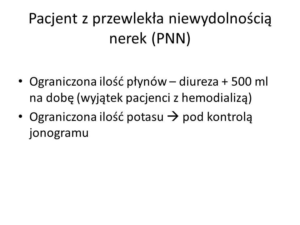 Pacjent z przewlekła niewydolnością nerek (PNN) Ograniczona ilość płynów – diureza + 500 ml na dobę (wyjątek pacjenci z hemodializą) Ograniczona ilość