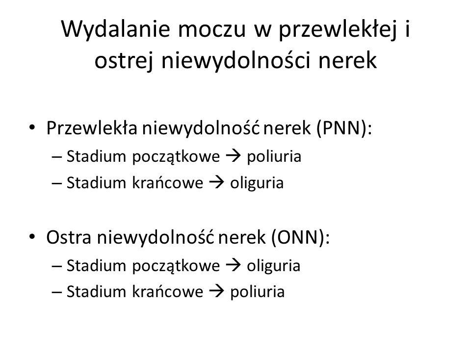Wydalanie moczu w przewlekłej i ostrej niewydolności nerek Przewlekła niewydolność nerek (PNN): – Stadium początkowe poliuria – Stadium krańcowe oligu