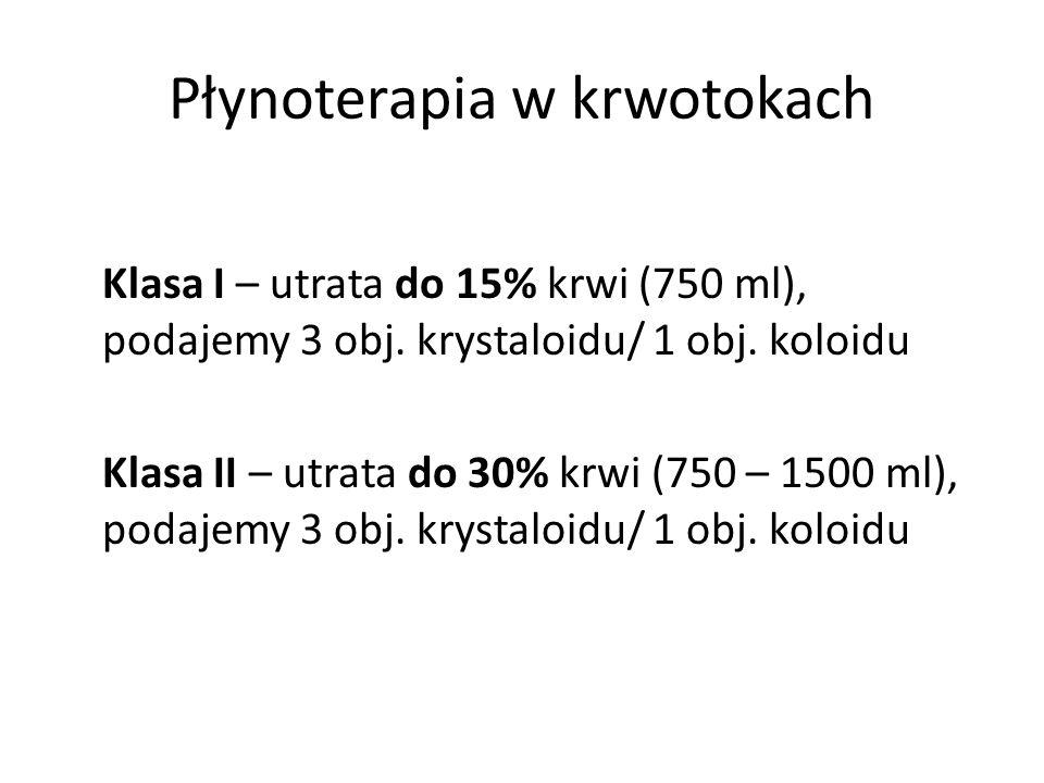 Płynoterapia w krwotokach Klasa I – utrata do 15% krwi (750 ml), podajemy 3 obj. krystaloidu/ 1 obj. koloidu Klasa II – utrata do 30% krwi (750 – 1500