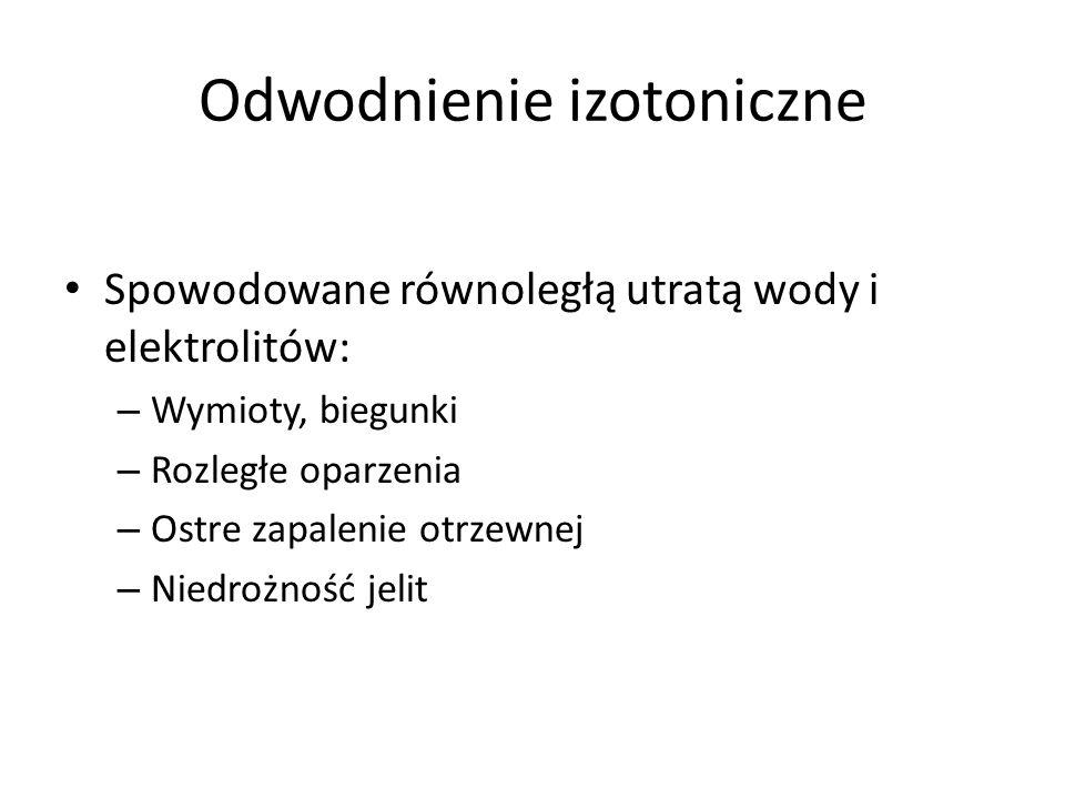 Odwodnienie izotoniczne Spowodowane równoległą utratą wody i elektrolitów: – Wymioty, biegunki – Rozległe oparzenia – Ostre zapalenie otrzewnej – Nied