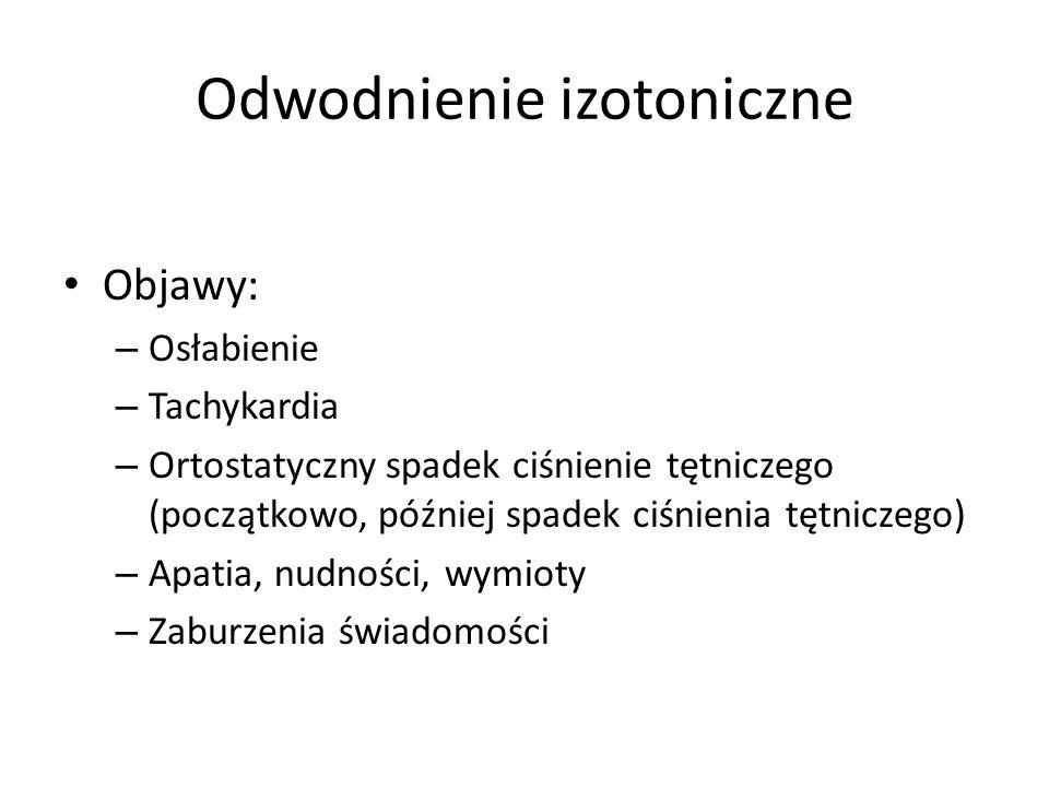 Odwodnienie izotoniczne Objawy: – Osłabienie – Tachykardia – Ortostatyczny spadek ciśnienie tętniczego (początkowo, później spadek ciśnienia tętniczeg