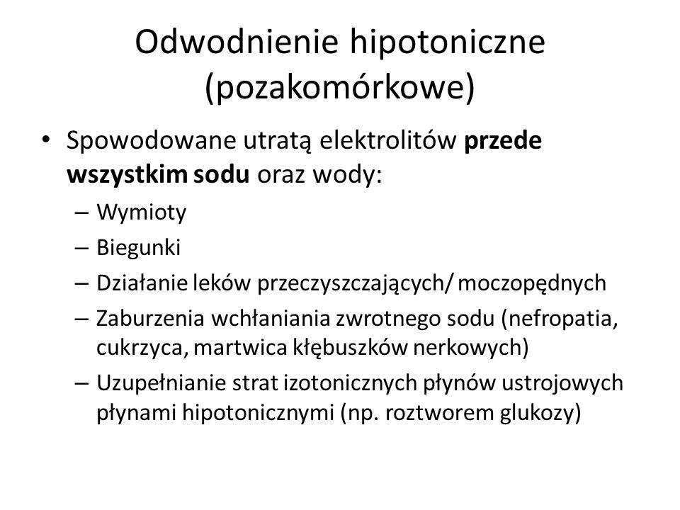 Odwodnienie hipotoniczne (pozakomórkowe) Spowodowane utratą elektrolitów przede wszystkim sodu oraz wody: – Wymioty – Biegunki – Działanie leków przec