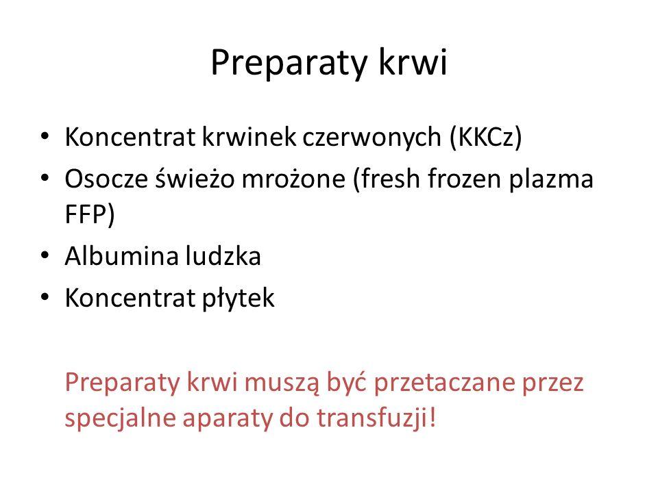 Preparaty krwi Koncentrat krwinek czerwonych (KKCz) Osocze świeżo mrożone (fresh frozen plazma FFP) Albumina ludzka Koncentrat płytek Preparaty krwi m