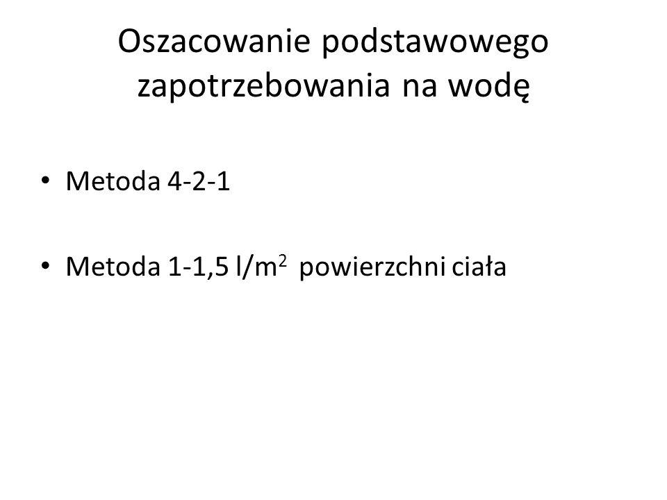 Oszacowanie podstawowego zapotrzebowania na wodę Metoda 4-2-1 Metoda 1-1,5 l/m 2 powierzchni ciała