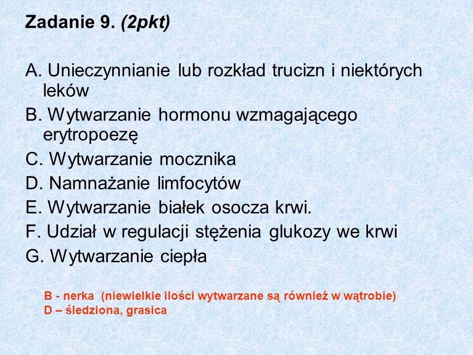 Zadanie 9. (2pkt) A. Unieczynnianie lub rozkład trucizn i niektórych leków B. Wytwarzanie hormonu wzmagającego erytropoezę C. Wytwarzanie mocznika D.