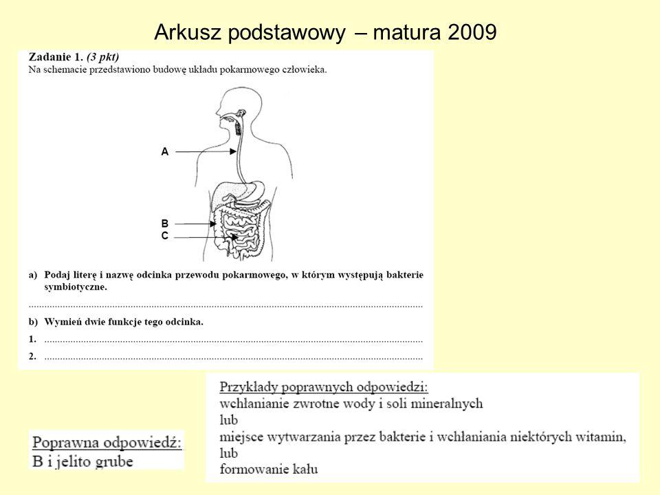 Arkusz podstawowy – matura 2009