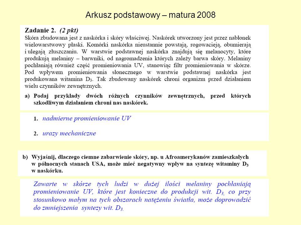 Arkusz podstawowy – matura 2008