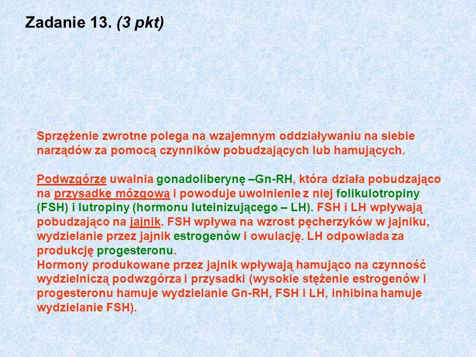 Zadanie 13. (3 pkt) Sprzężenie zwrotne polega na wzajemnym oddziaływaniu na siebie narządów za pomocą czynników pobudzających lub hamujących. Podwzgór