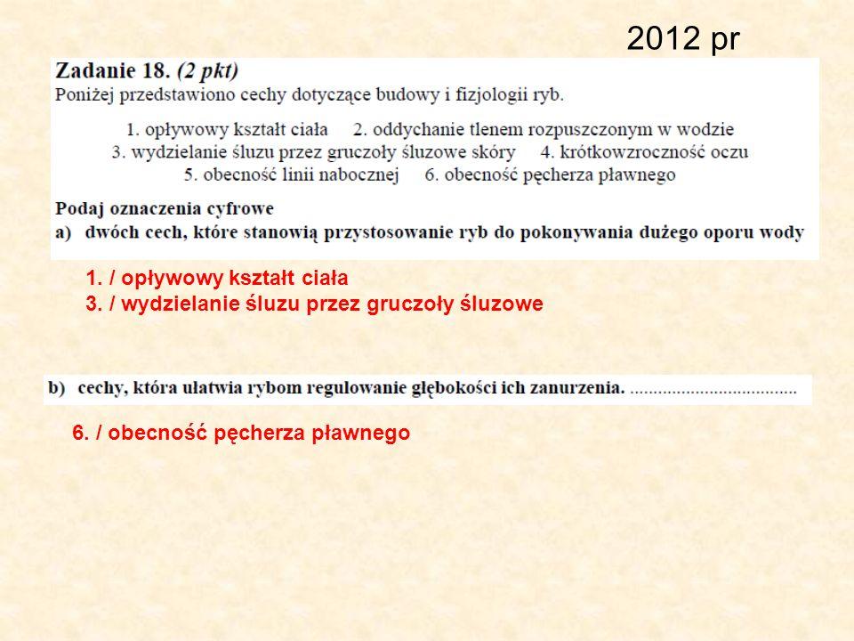 2012 pr 1. / opływowy kształt ciała 3. / wydzielanie śluzu przez gruczoły śluzowe 6. / obecność pęcherza pławnego
