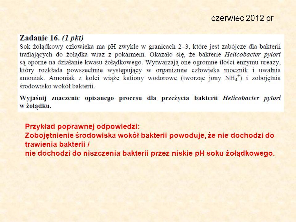 czerwiec 2012 pr Przykład poprawnej odpowiedzi: Zobojętnienie środowiska wokół bakterii powoduje, że nie dochodzi do trawienia bakterii / nie dochodzi