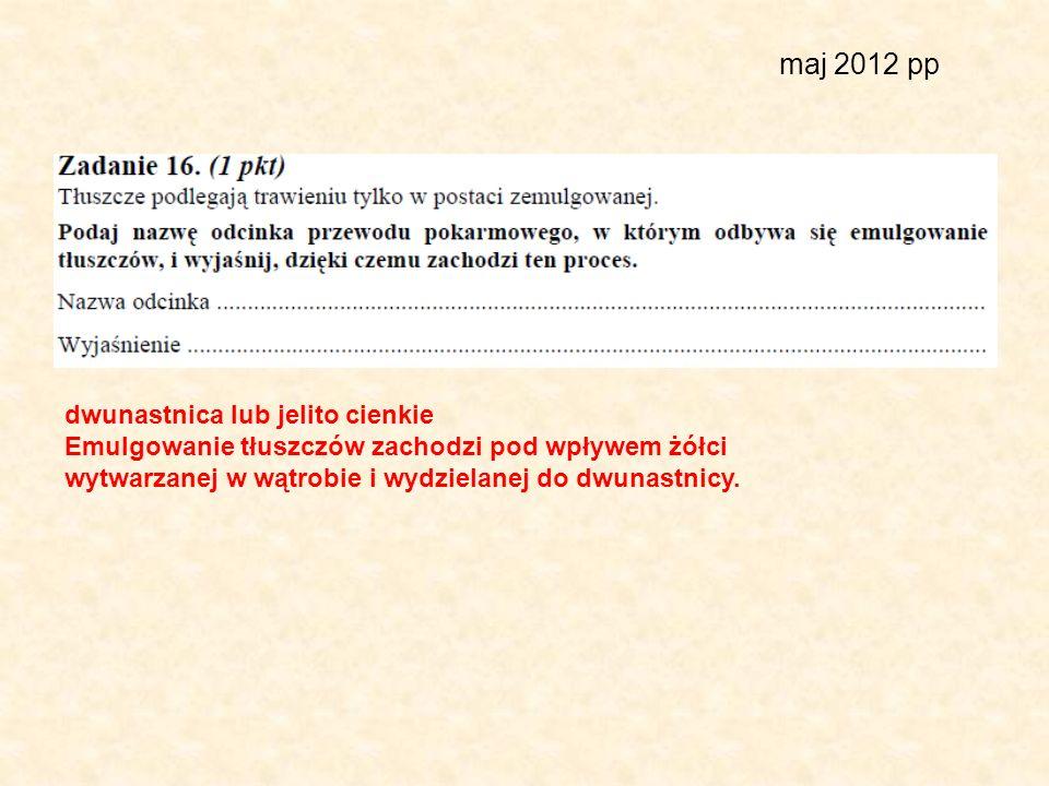 maj 2012 pp dwunastnica lub jelito cienkie Emulgowanie tłuszczów zachodzi pod wpływem żółci wytwarzanej w wątrobie i wydzielanej do dwunastnicy.