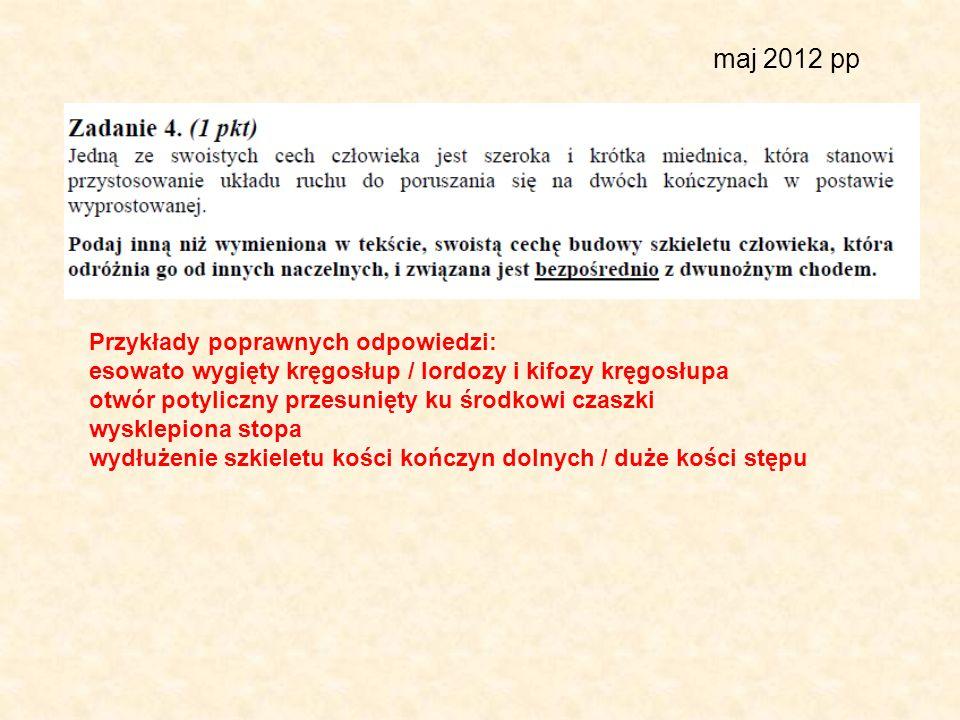 maj 2012 pp Przykłady poprawnych odpowiedzi: esowato wygięty kręgosłup / lordozy i kifozy kręgosłupa otwór potyliczny przesunięty ku środkowi czaszki