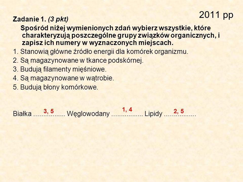 2011 pp Zadanie 1. (3 pkt) Spośród niżej wymienionych zdań wybierz wszystkie, które charakteryzują poszczególne grupy związków organicznych, i zapisz