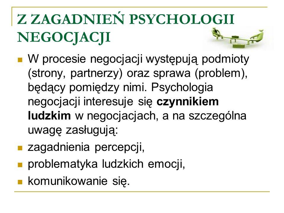 Z ZAGADNIEŃ PSYCHOLOGII NEGOCJACJI W procesie negocjacji występują podmioty (strony, partnerzy) oraz sprawa (problem), będący pomiędzy nimi. Psycholog
