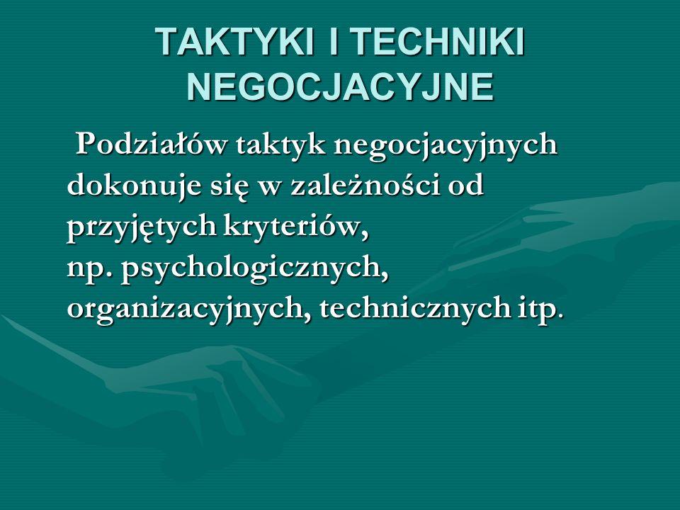TAKTYKI I TECHNIKI NEGOCJACYJNE Podziałów taktyk negocjacyjnych dokonuje się w zależności od przyjętych kryteriów, np. psychologicznych, organizacyjny