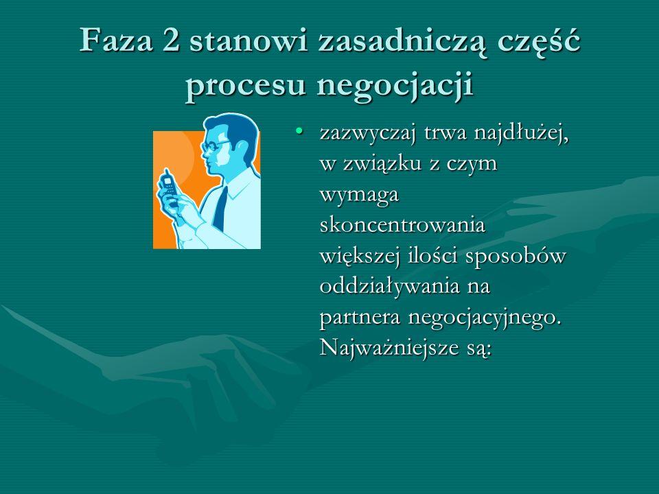 Faza 2 stanowi zasadniczą część procesu negocjacji zazwyczaj trwa najdłużej, w związku z czym wymaga skoncentrowania większej ilości sposobów oddziaływania na partnera negocjacyjnego.
