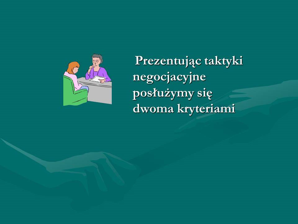 Prezentując taktyki negocjacyjne posłużymy się dwoma kryteriami