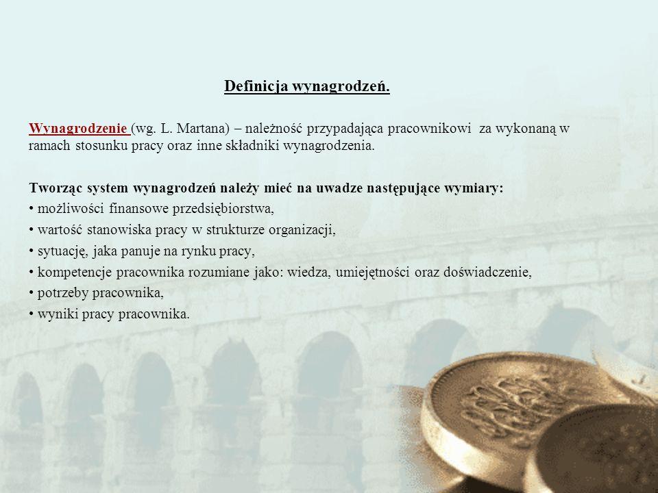 Definicja wynagrodzeń. Wynagrodzenie (wg. L. Martana) – należność przypadająca pracownikowi za wykonaną w ramach stosunku pracy oraz inne składniki wy