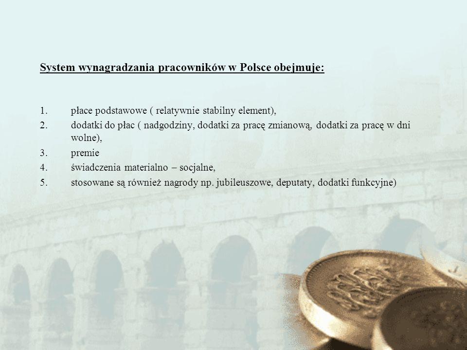 System wynagradzania pracowników w Polsce obejmuje: 1.płace podstawowe ( relatywnie stabilny element), 2.dodatki do płac ( nadgodziny, dodatki za prac