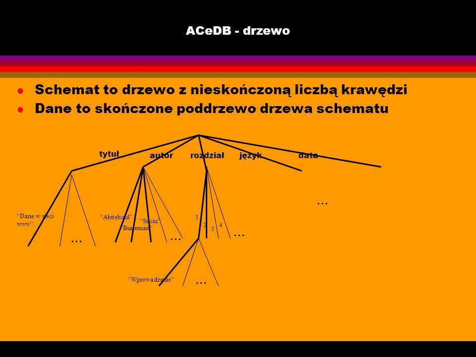 ACeDB - drzewo l Schemat to drzewo z nieskończoną liczbą krawędzi l Dane to skończone poddrzewo drzewa schematu tytuł autorrozdziałjęzykdata... Dane w