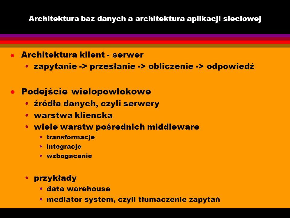 Architektura baz danych a architektura aplikacji sieciowej l Architektura klient - serwer zapytanie -> przesłanie -> obliczenie -> odpowiedź l Podejśc