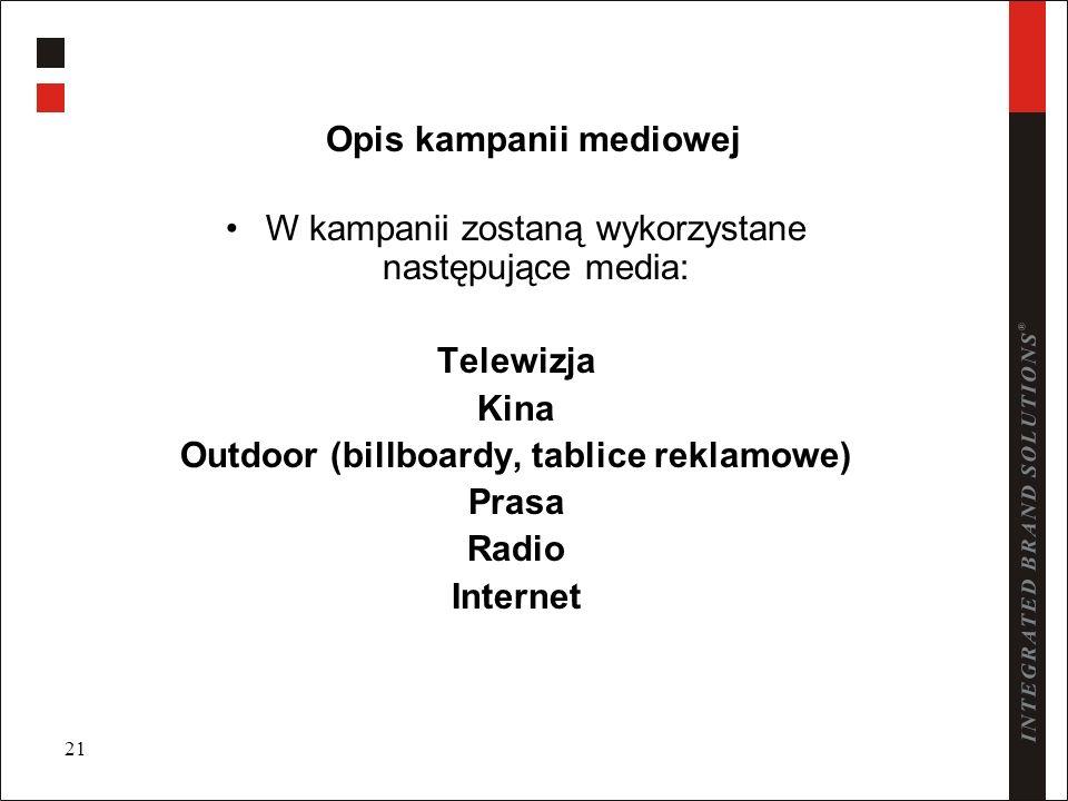 21 Opis kampanii mediowej W kampanii zostaną wykorzystane następujące media: Telewizja Kina Outdoor (billboardy, tablice reklamowe) Prasa Radio Intern