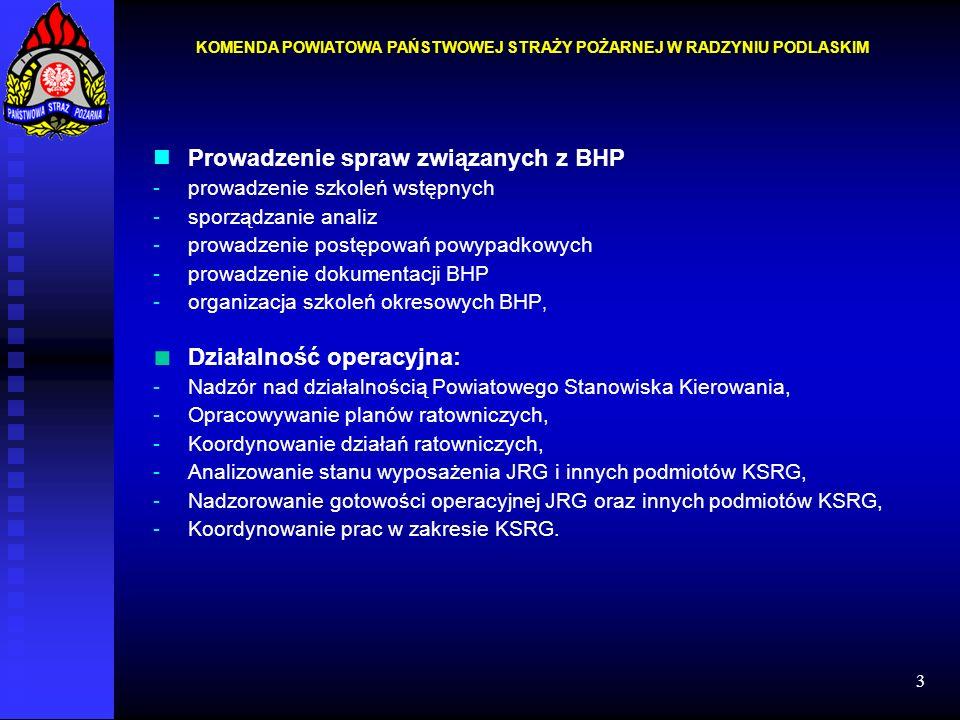 3 Prowadzenie spraw związanych z BHP -prowadzenie szkoleń wstępnych -sporządzanie analiz -prowadzenie postępowań powypadkowych -prowadzenie dokumentac