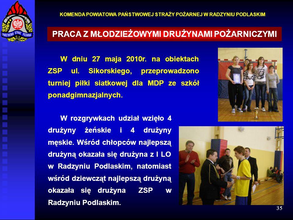 35 KOMENDA POWIATOWA PAŃSTWOWEJ STRAŻY POŻARNEJ W RADZYNIU PODLASKIM PRACA Z MŁODZIEŻOWYMI DRUŻYNAMI POŻARNICZYMI W dniu 27 maja 2010r. na obiektach Z