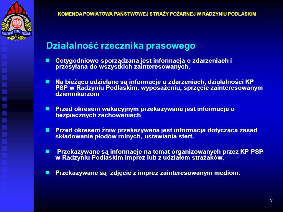 7 Działalność rzecznika prasowego Cotygodniowo sporządzana jest informacja o zdarzeniach i przesyłana do wszystkich zainteresowanych. Na bieżąco udzie