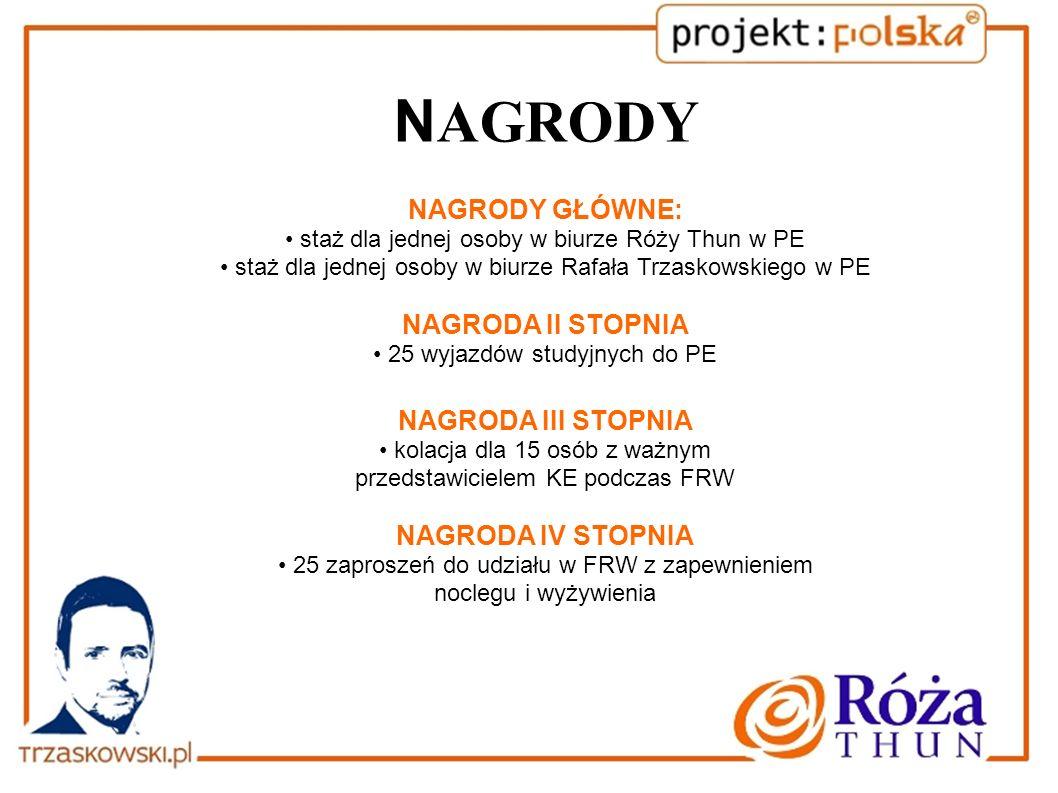 N AGRODY NAGRODY GŁÓWNE: staż dla jednej osoby w biurze Róży Thun w PE staż dla jednej osoby w biurze Rafała Trzaskowskiego w PE NAGRODA II STOPNIA 25