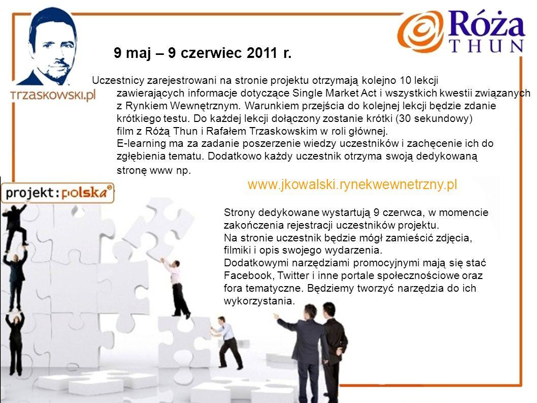 9 maj – 9 czerwiec 2011 r. Uczestnicy zarejestrowani na stronie projektu otrzymają kolejno 10 lekcji zawierających informacje dotyczące Single Market