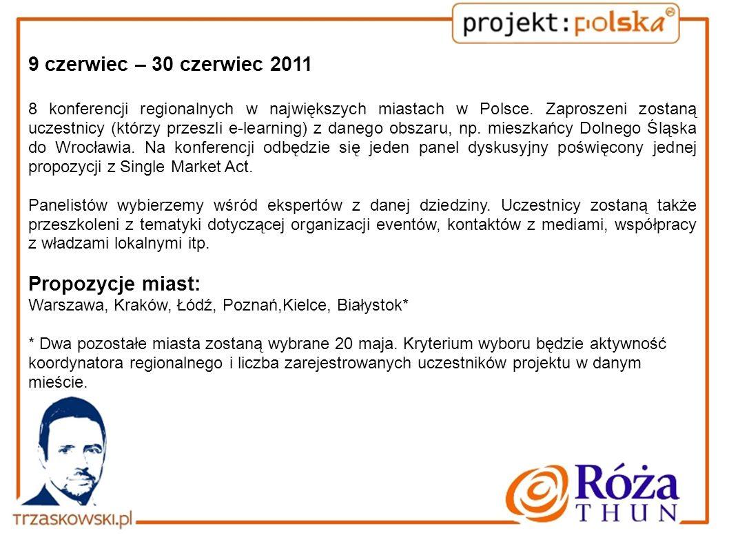 9 czerwiec – 30 czerwiec 2011 8 konferencji regionalnych w największych miastach w Polsce. Zaproszeni zostaną uczestnicy (którzy przeszli e-learning)