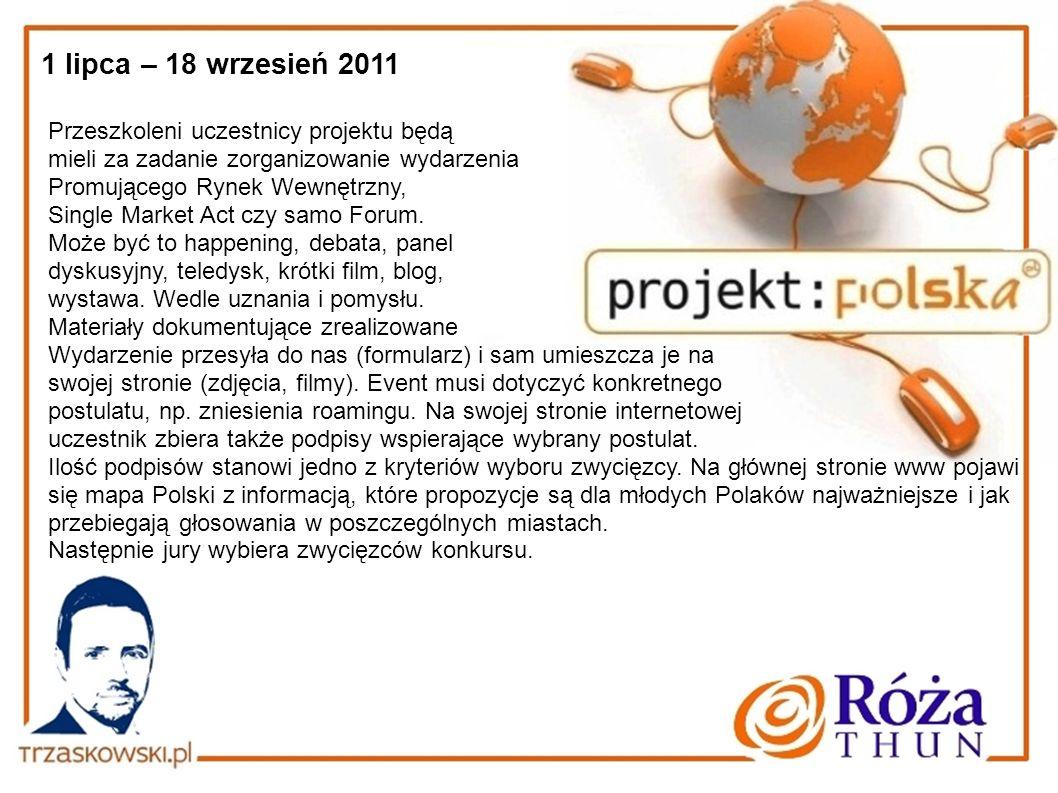 1 lipca – 18 wrzesień 2011 Przeszkoleni uczestnicy projektu będą mieli za zadanie zorganizowanie wydarzenia Promującego Rynek Wewnętrzny, Single Marke