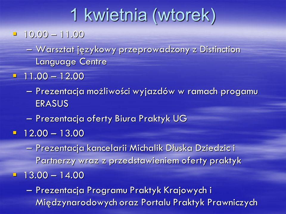 1 kwietnia (wtorek) 10.00 – 11.00 10.00 – 11.00 –Warsztat językowy przeprowadzony z Distinction Language Centre 11.00 – 12.00 11.00 – 12.00 –Prezentac
