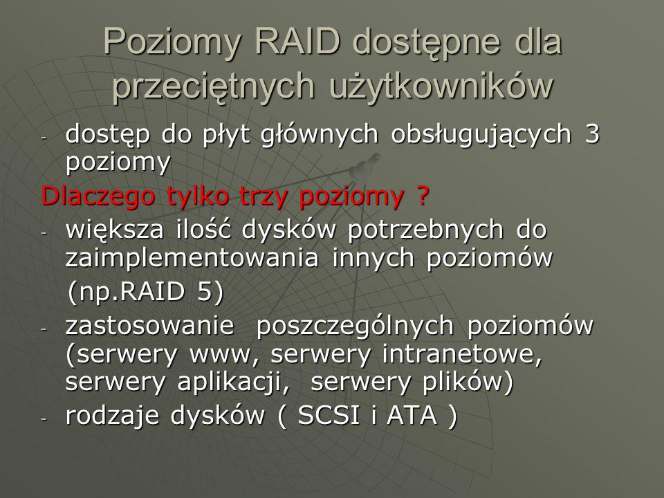 Poziomy RAID dostępne dla przeciętnych użytkowników -d-d-d-dostęp do płyt głównych obsługujących 3 poziomy Dlaczego tylko trzy poziomy ? -w-w-w-większ