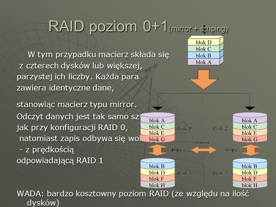 RAID poziom 3 Działa jak RAID 0, ale w razie awarii jednego z dysków macierzy można odtworzyć zapisaną na nim informację.