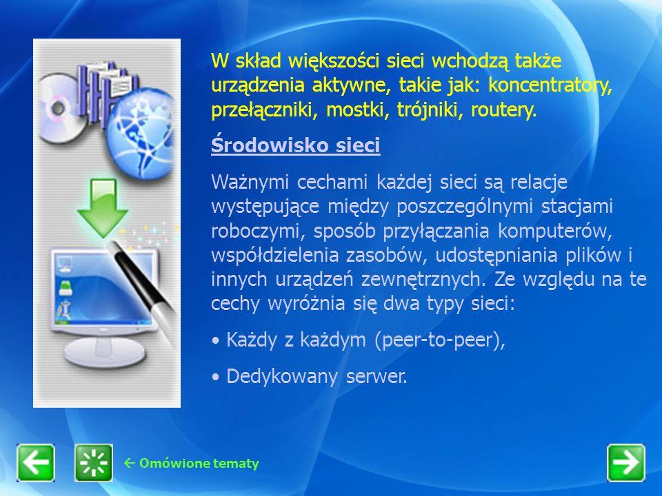 Omówione tematy W skład większości sieci wchodzą także urządzenia aktywne, takie jak: koncentratory, przełączniki, mostki, trójniki, routery. Środowis